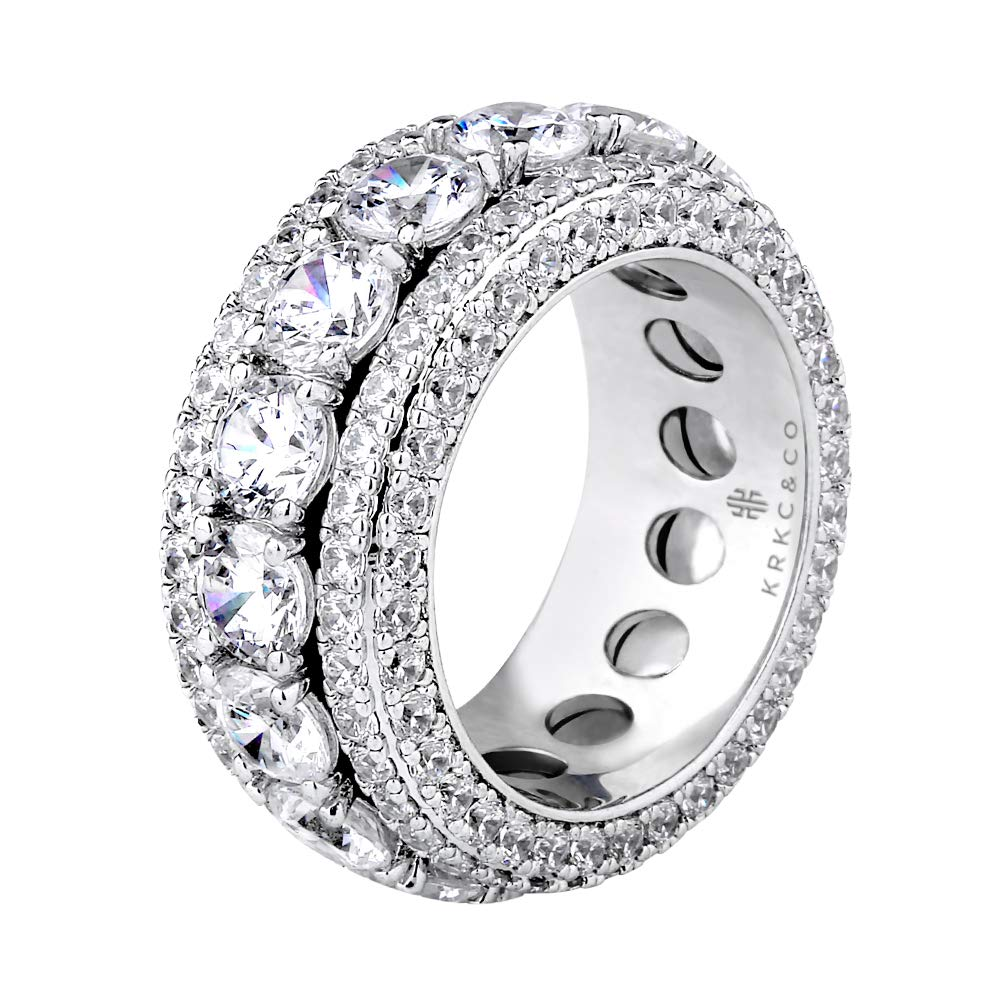 KRKC&CO Ice Out Rotating Rings, White Gold Micro Pave Stones 5 Rows CZ Stone Rings, Solid No Tarnish Rapper Urban Streetwear Hip Hop Rings Size 8 9 10 for Wedding Engagement Party Band