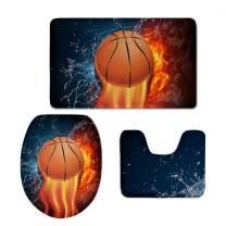 Fire Basketballl Pattern Bathroom Rug Contour Mat Toilet Lid Cover 3 Pcs Set CHAQLIN