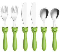 ANNOVA Kids Silverware Set 6 Pieces - Childrens Flatware Stainless Steel - 2 x Children Safe Forks, 2 x Safe Table Knife, 2 x Tablespoons, Toddler Utensils for Lunch Box BPA Free (Frog x 6 PCS)