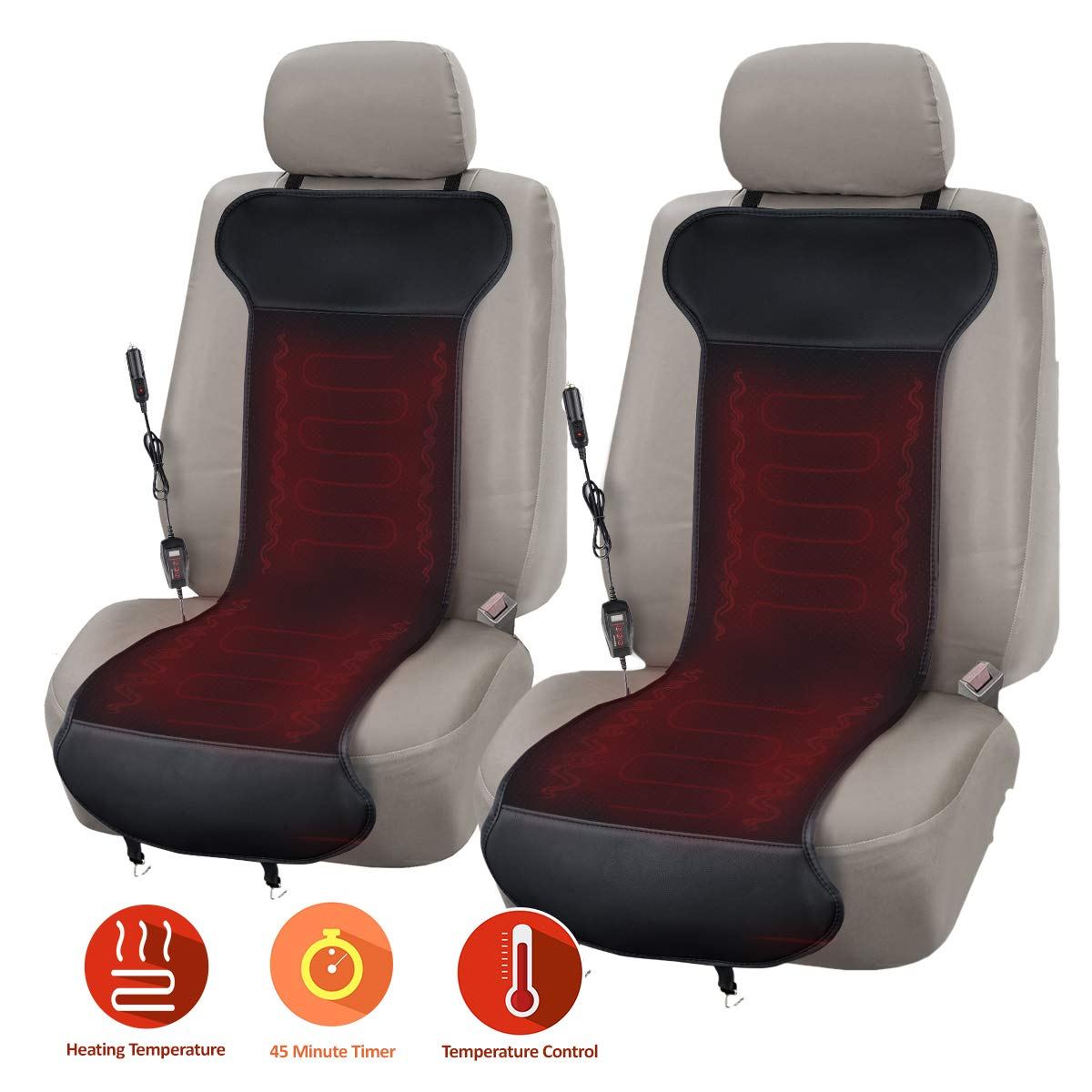 Zone Tech Car Heated Seat Cover Cushion with Temperature Control- 2 Pack Premium Quality Classic Black 12V Heated Comfortable Seat Cushion Perfect for Cold Weather and Winter Driving