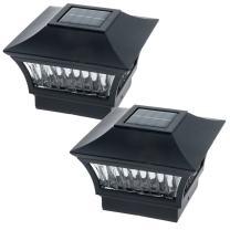 GreenLighting Aluminum Solar Post Cap Light 4x4 Wood or 5x5 PVC (Black, 2 Pack)