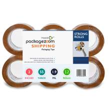 """PackageZoom Packing Tape - Tan Brown 12 Rolls x 55 Yd. 2"""" Wide, 1.9mil Heavy Duty Sealing Adhesive for Boxes, Shipping, Moving, Packaging, Office, Storage, Tape Gun Refills"""