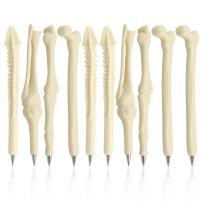 MagicW Novelty Bone Shape Ballpoint Pens Finger Skull Bone Pen For Nurse Doctor Stationery Crazy Student Gift Pack of 10