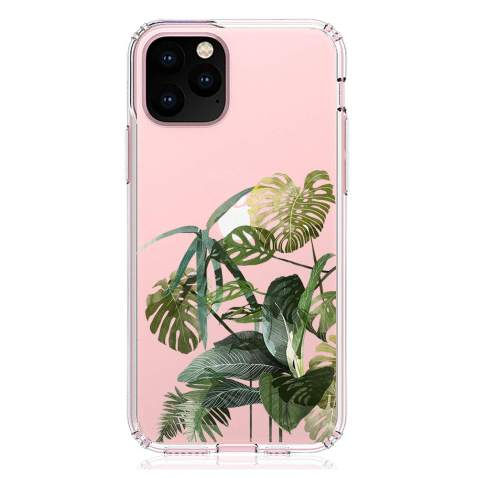 """HUIYCUU Compatible with iPhone 11 Pro 5.8"""" Case, Shockproof Anti-Slip Cute Flower Clear Design Pattern Funny Slim Fit Soft Bumper Girl Women Cover Case for iPhone 11Pro XI Pro 5.8"""", Tropical Leaves"""