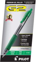 PILOT G2 Premium Refillable & Retractable Rolling Ball Gel Pens, Fine Point, Green Ink, 12 Count - 1