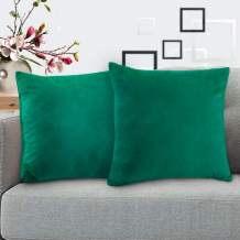 """i COVER Throw Pillow Covers Pack of 2, Square Velvet Decorative Cushion Cases, Soft Throw Pillow Cases for Couch Sofa Bed Bench Car,12""""x12"""",Green"""