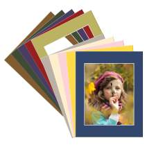 Golden State Art, Pack of 10 Mixed Colors 16x20 Picture Mats Matting with White Core Bevel Cut for 11x14 Pictures