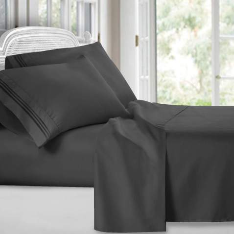 Clara Clark Premier 1800 Collection 4pc Bed Sheet Set - King Size, Charcoal S.