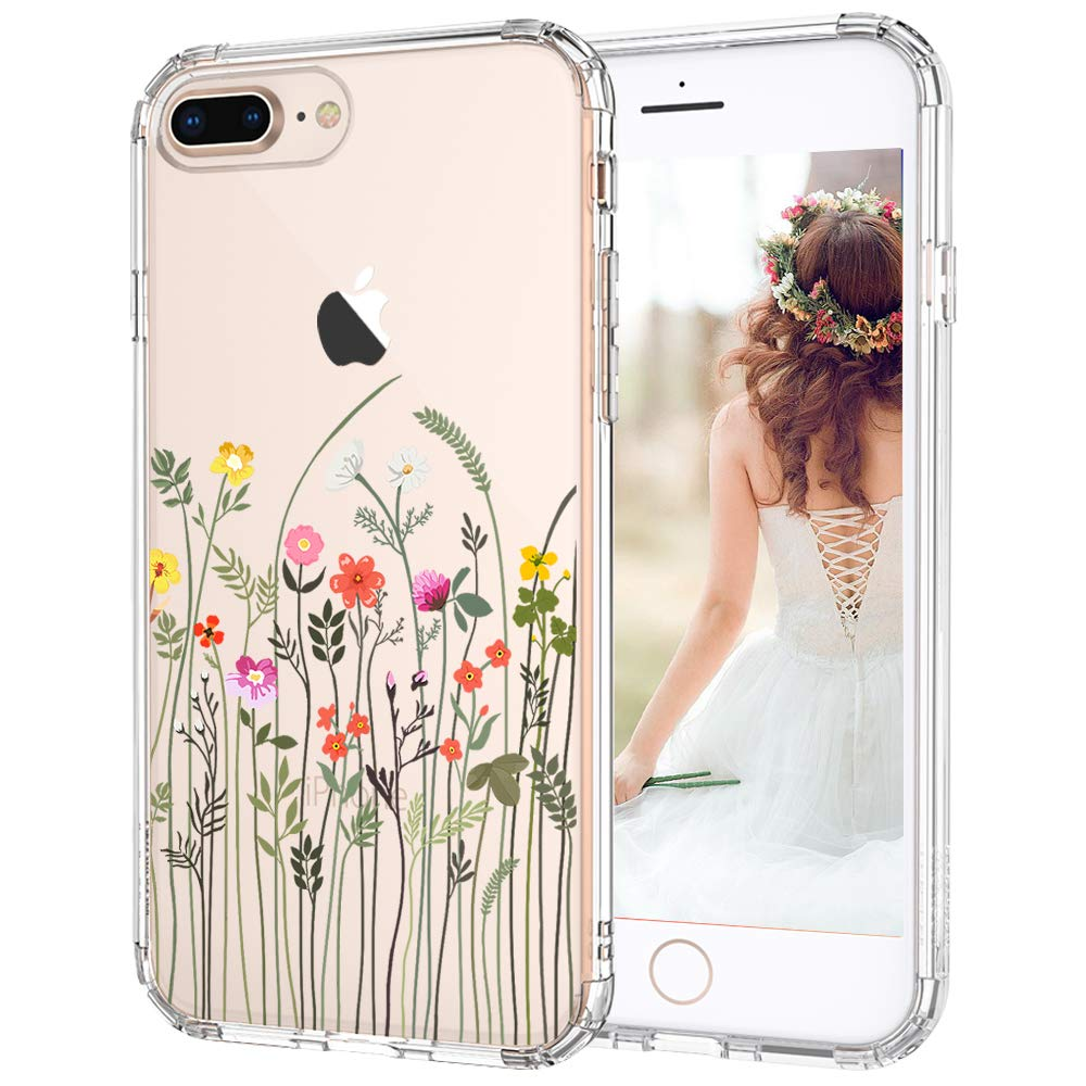 MOSNOVO iPhone 8 Plus Case, iPhone 7 Plus Case, Wildflower Floral Flower Pattern Printed Clear Design Back Case with TPU Bumper Case Cover for iPhone 7 Plus/iPhone 8 Plus (Little Floral Flower)