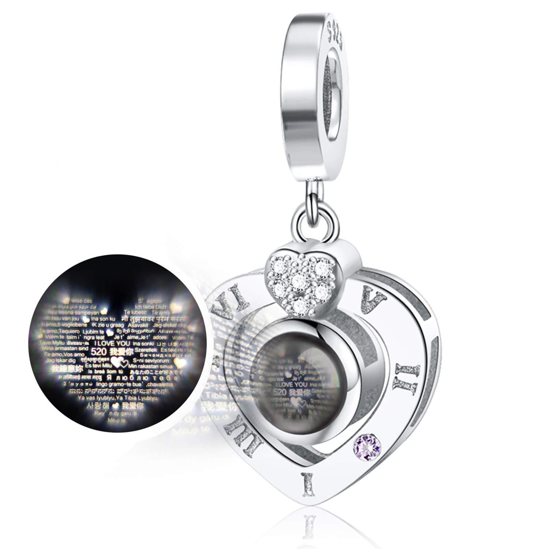 JIAYIQI Angel Wings Charms Fit Pandora Bracelets,925 Sterling Silver Heart Dangle Charm Bead for Snake Bracelets