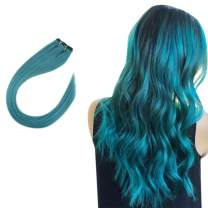 """Easyouth Real Human Hair Weft Brazilian Hair Extensions Solid Color Teal -18"""" 50g per Package, Silky Straight Hair Extensions Sew in Hair Extensions Easy to Install for Stylist Hand Tied Extensions"""