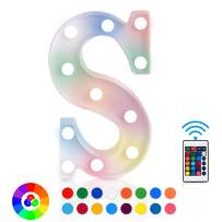 ZRO LED Letter Lights 16 Colors-Changing, 3D Night Lamp 26 Alphabet A-Z LED Marquee Sign with Remote Control for New Year Eve Valentine's Day Home Decor Birthday Party Wedding Bedroom Wall Decor (S)
