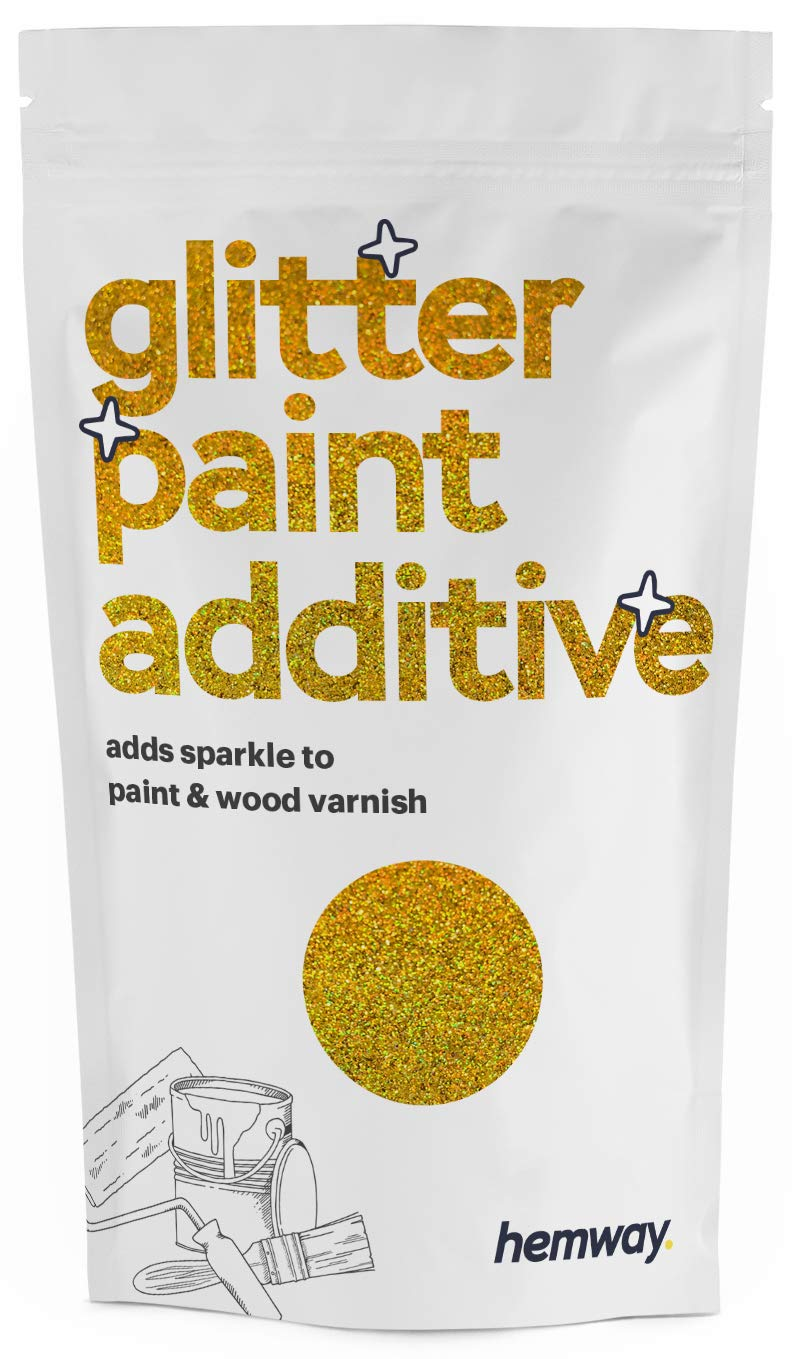 Hemway   Glitter Paint Additive for Emulsion/Acrylic Water Based Paints 110g (Gold Holographic)
