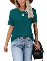 deqiang Women's Casual Short Sleeve Round Neck Loose T Shirt Summer Tops