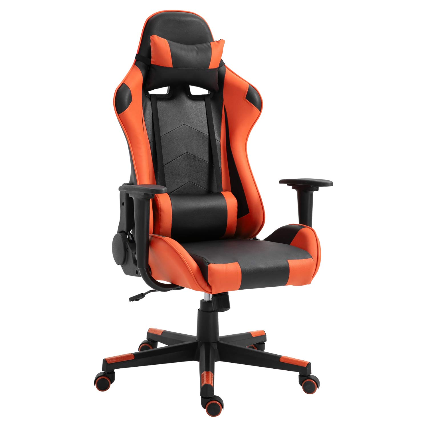 Picture of: Polar Aurora Ergonomic Gaming Chair High Back Swivel Racing Office Chair Pu Leather Sturdy Metal Frame With Adjustable Armrests And Footrest Black