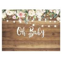 Funnytree 7x5ft Rustic Wood Baby Shower Party Backdrop Oh Baby Girl Floral Retro Wooden Flowers Photography Background Cake Table Decoration Mama to be Banner Photo Booth Props