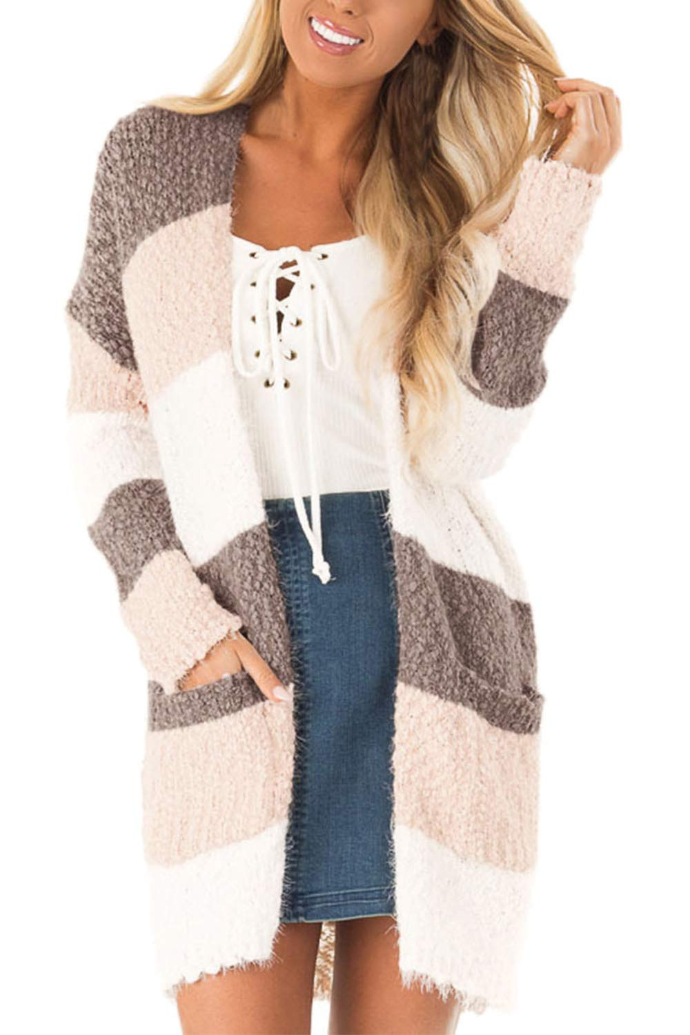 COCOLEGGINGS Women's Color Block Drape Oversized Knitted Cardigan Sweaters