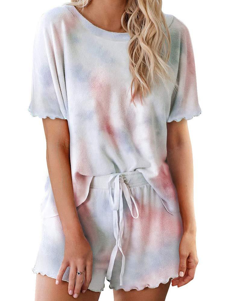 Sobrisah Women's Tie Dye Printed Loungewear Short Sleeve Tops PJ Set Nightgowns Sleepwear Multicolor Pajamas