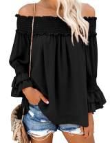 Blooming Jelly Women's Off Shoulder Chiffon Blouse Ruffle Sleeve Flattering Top Shirt