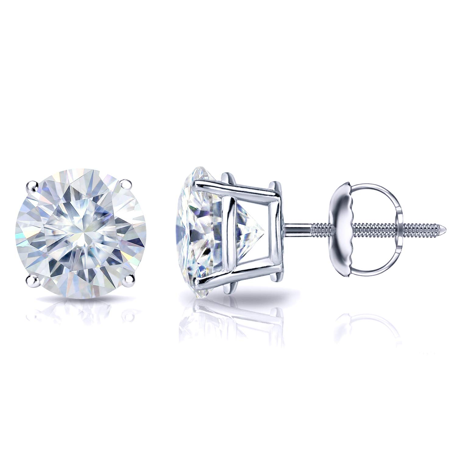 Platinum Round Moissanite Stud Earrings (1 to 7ct TGW, H-I) 4-Prong Set, Screw-Back by Diamond Wish