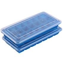 Maconee Silicone Ice Cube trays with lids-2 Pack Flexible molds for chilled drinks, Bourbon, Whiskey & Cocktails-Covered Tray Stackable, Dishwasher Safe, BPA Free & Easy Release