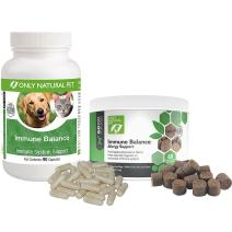 Only Natural Pet Immune Balance for Immune Support - Holistic Vitamin Dietary Supplement Formula for Dogs or Cats - Made in The USA Powder Filled Capsules