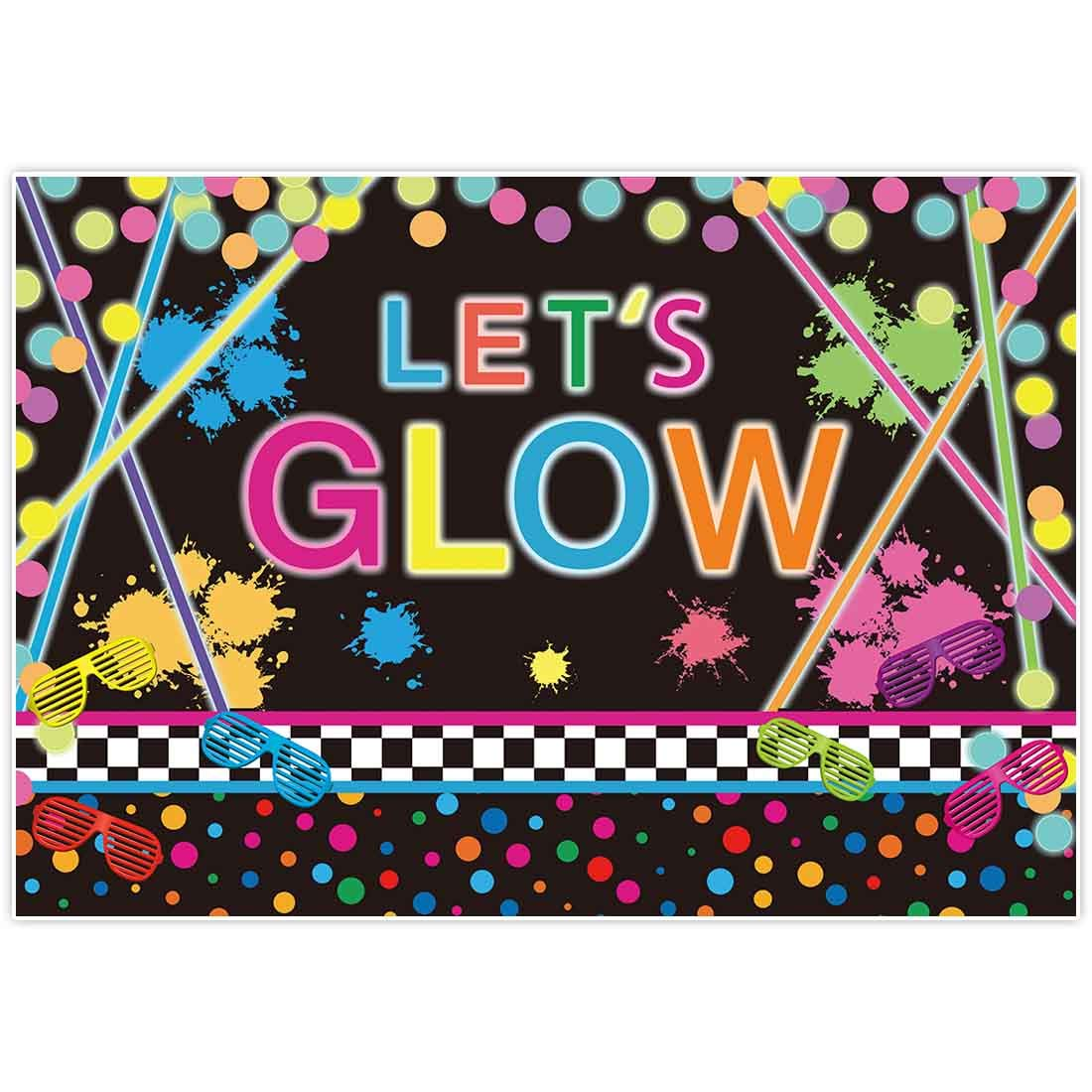 Allenjoy 7x5ft No Creases Neon Glow Backdrop Let's Crazy in the Dark Kids Adult Birthday Party Decoration Supplies Splatter Glowing Dessert Table Banner Photography Background Photo Studio Booth Props