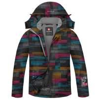qualidyne Men's Ski Jacket, Winter Waterproof Detachable Mountain Hooded Windproof Rain Coat Snow Jacket