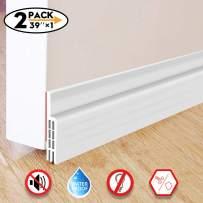 """Door Draft Stopper,Door Sweep for Exterior/Interior Doors, Door Seal Strip Under Door Draft Blocker Seal, Soundproof Door Bottom Weather Stripping Weatherproof, 2"""" W x 39"""" L(2 Pack,White)"""