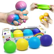 Stress Ball Toys Color Changing, Sensory Toys Squeeze for Teens Kids, Stress Relief Balls for Easter Stocking, Squishy Balls Color Changing -4 pack (Rainbow Pattern Package -Green/Yellow/Blue/Purple)