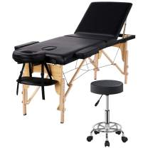Yaheetech 3 Folding Massage Table with Rolling Stool Portable Massage Bed Spa Bed Stool Adjustable Swivel Salon Chair Massage Therapy Table with Headrest & Armrest Black
