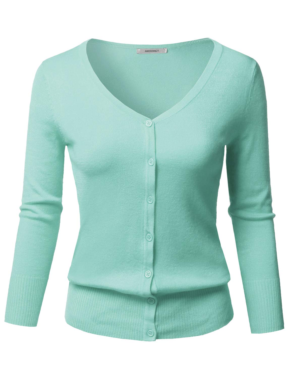 Solid Button Down V-Neck 3/4 Sleeves Knit Cardigan Ice Blue L