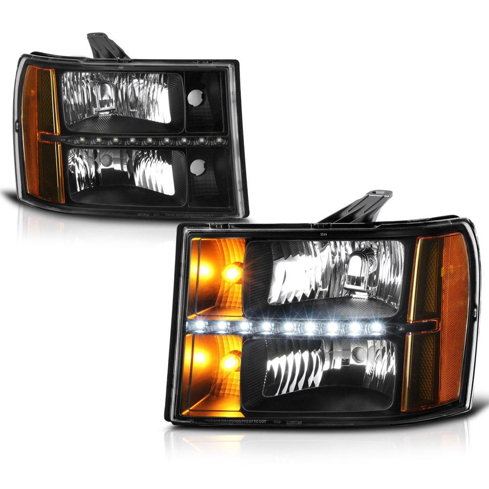 VIPMOTOZ Black Housing LED Strip DRL Headlight Headlamp Assembly For 2007-2013 GMC Sierra 1500 2500HD 3500HD Pickup Truck, Driver & Passenger Side