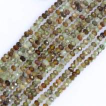 Gem-Inside Natural 2X3mm Green Prehnite Gemstone Loose Spacer Beads Faceted Rondelle Energy Stone Power for Jewelry Making 15''