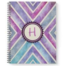 """Watercolor Abstract Monogram""""H"""" Notebook/Journal, Laminated Soft Cover, 120 Checklist pages, lay flat wire-o spiral. Size: 8.5"""" x 11"""". Made in the USA"""