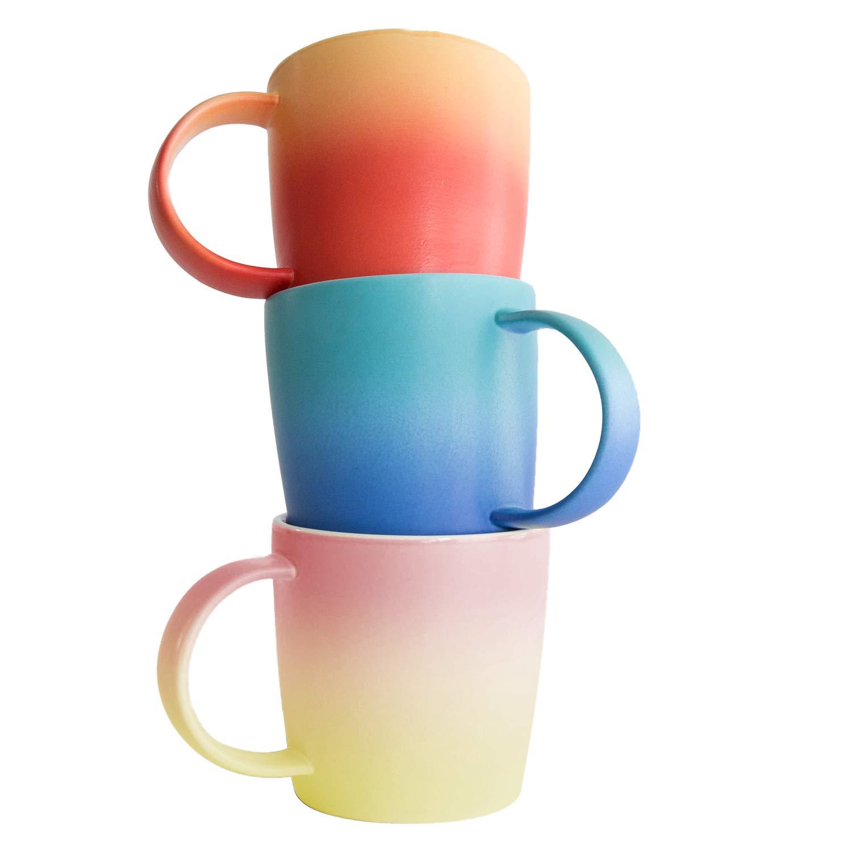 Ombre Mugs Collection - Coffee Mug Set of 3, Colour Bundle Gift Set, Soft Touch, 12oz New Bone China for Coffee/Tea/Beverage/Mug Cake/Stationary and Plant Holder in Aurora, Flamingo, Magma