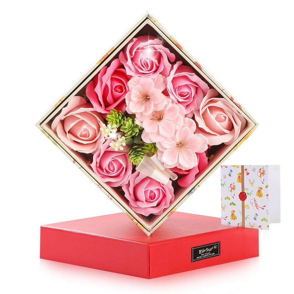 Everjoys Mothers' Day Rose Soap Flower w/Towel Creative Storage Box Gift Set for Birthday, Anniversary, Valentine's Day