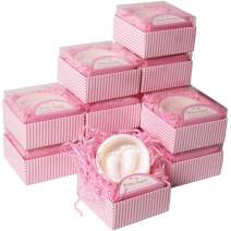 Lovely Handmade Pink Pitter Patter Style Soap Favors Exquisite Gift Packaging for Baby Girl Baby Shower Favors (12 Pack)
