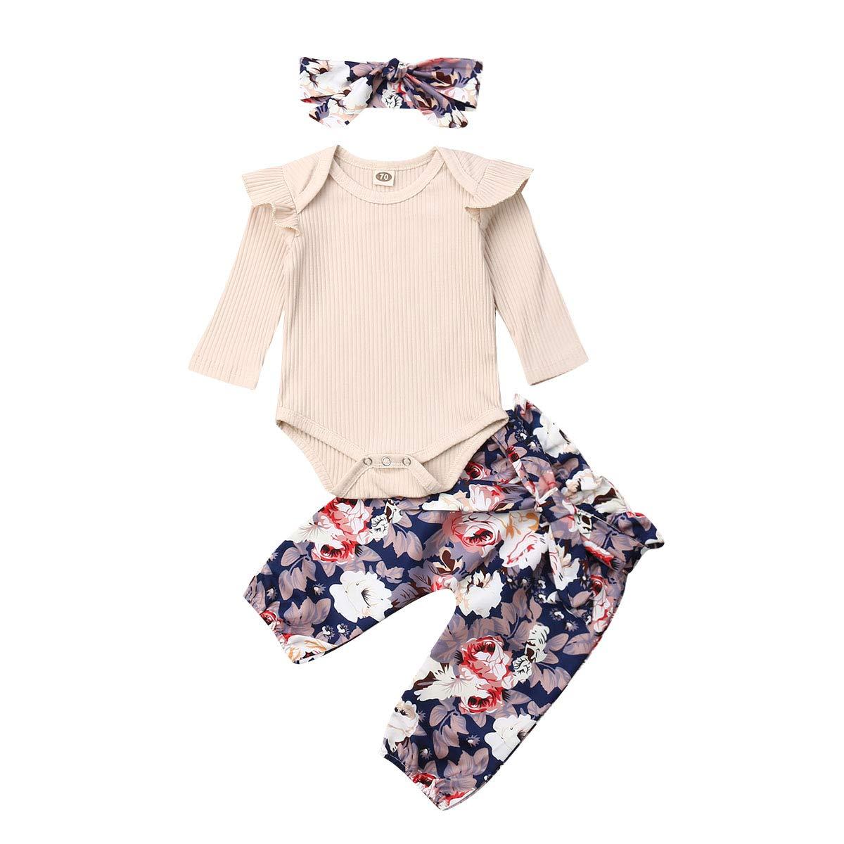 3PCS Newborn Baby Girls Ruffle Collar Romper Bodysuit Floral Long Pants Headband Outfits Set