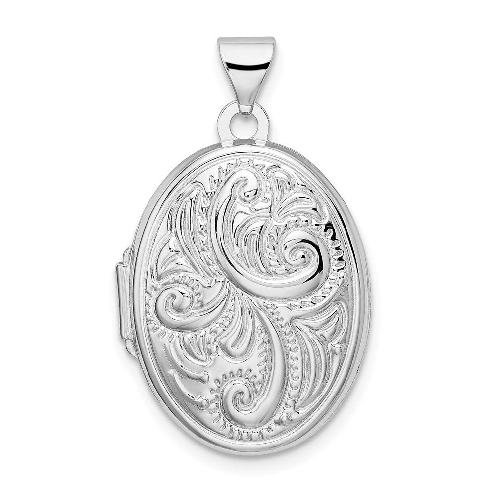 925 Sterling Silver Scroll Oval Photo Pendant Charm Locket Chain Necklace That Holds Pictures Fine Jewelry For Women Gifts For Her