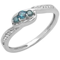Dazzlingrock Collection 0.25 Carat (ctw) 14K Gold Round Blue & White Diamond Ladies 3 Stone Engagement Ring 1/4 CT