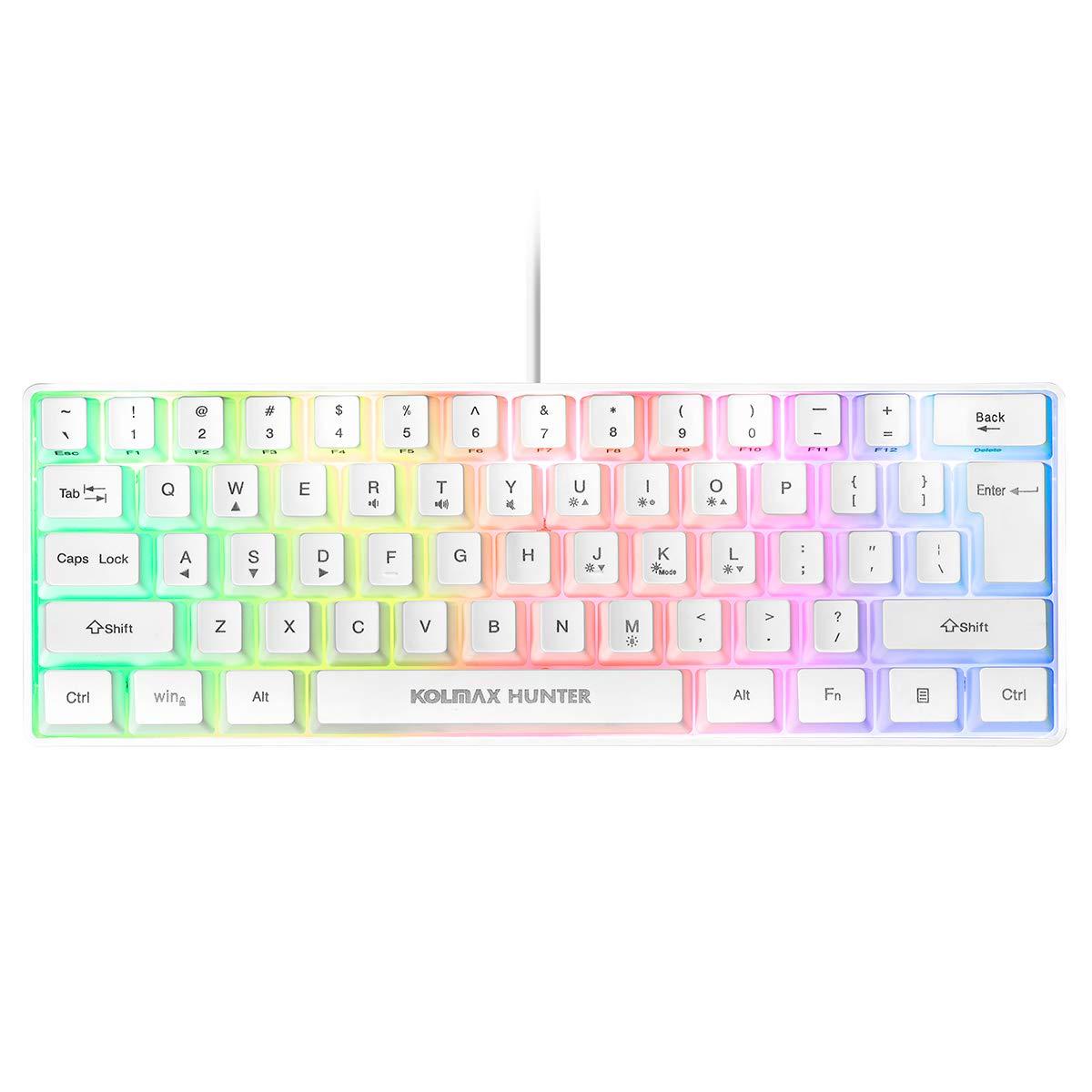 60% RGB Gaming Keyboard,61 Keys RGB Backlit Wired Gaming Keyboard/Office Mini Keyboard for PC/Mac/Linux/Laptop(White)
