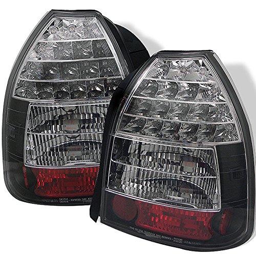 For 1996-2000 Honda Civic 3Door Hatchback Model Black Housing LED Tail Brake Light Lamp L+R