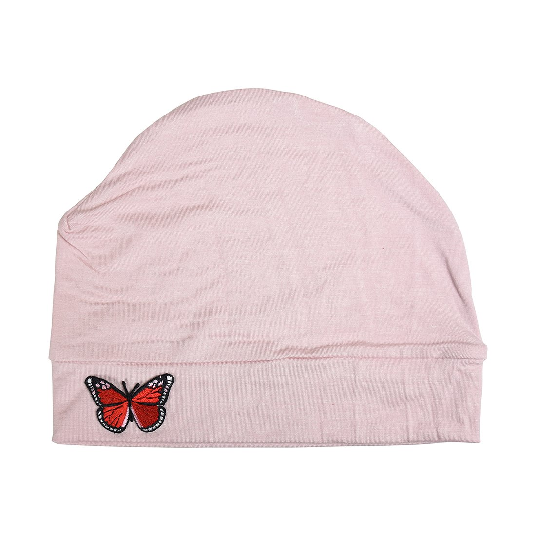 Light Pink Womens Soft Chemo Cap and Sleep Turban with Red Butterfly