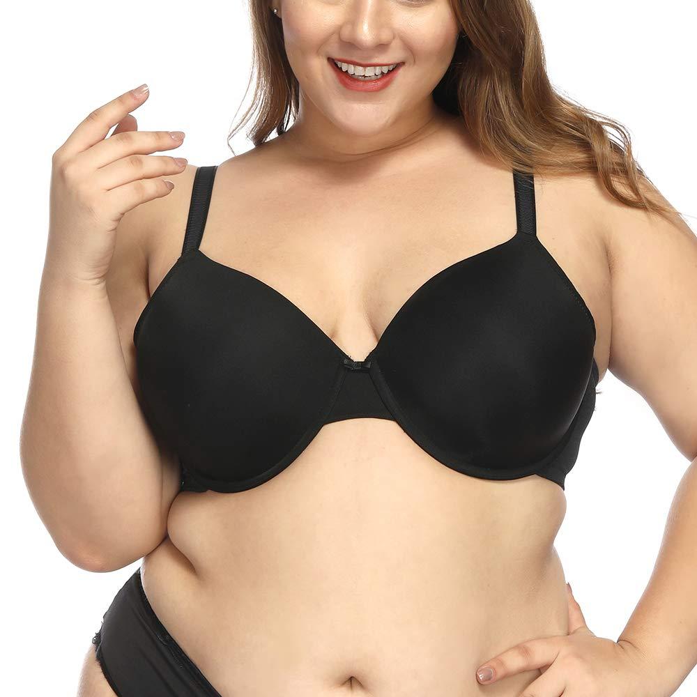 sheroine Plus Size Bra Full Coverage Underwire Light Padded Tshirt Bras for Women Minimizer