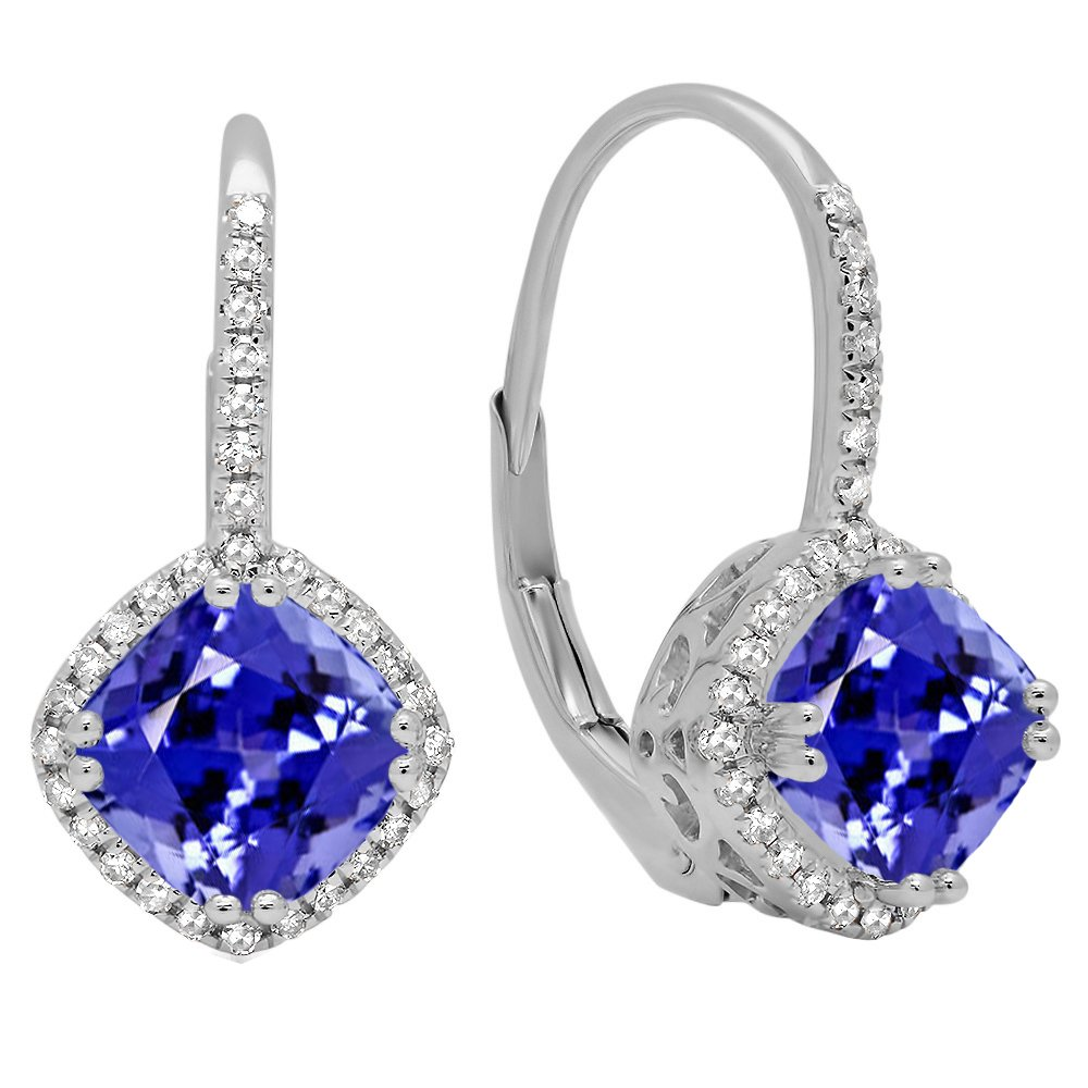 Dazzlingrock Collection 10K 6 MM Each Cushion Gemstone & Round White Diamond Ladies Halo Style Hoop Earrings, White Gold