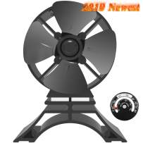 KINDEN Mini Wood Stove Fan 4-Blade 5.6 Inch Height for Small Place Eco-Friendly with Stove Thermometer (Aluminium Black, Mini Size)