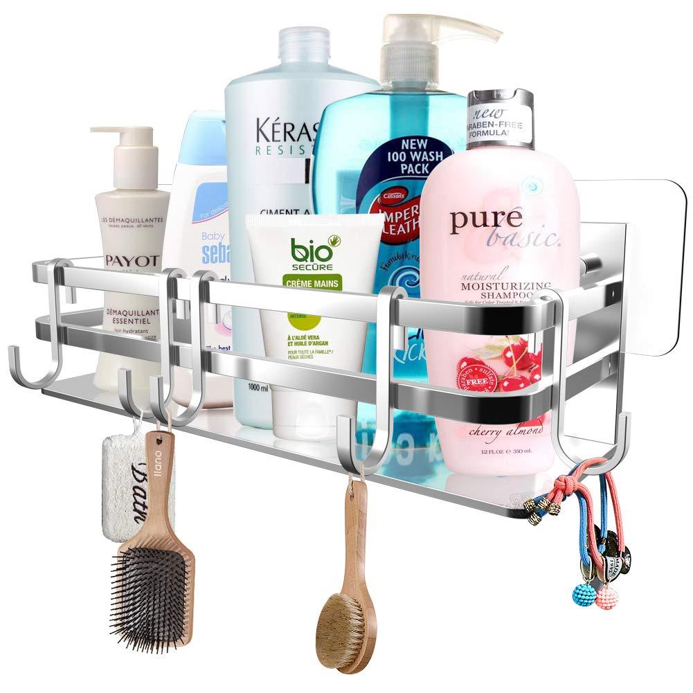 HomeGoGo Shower Caddy Bathroom Shelf, Bathroom Storage Organizer with Adhesive, No Drilling Rustproof Food Storage Basket, Kitchen Spice Racks, Silver
