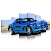 Startonight Huge Canvas Wall Art - Blue Sport Car Large Framed Set of 7 40 x 95 Inches