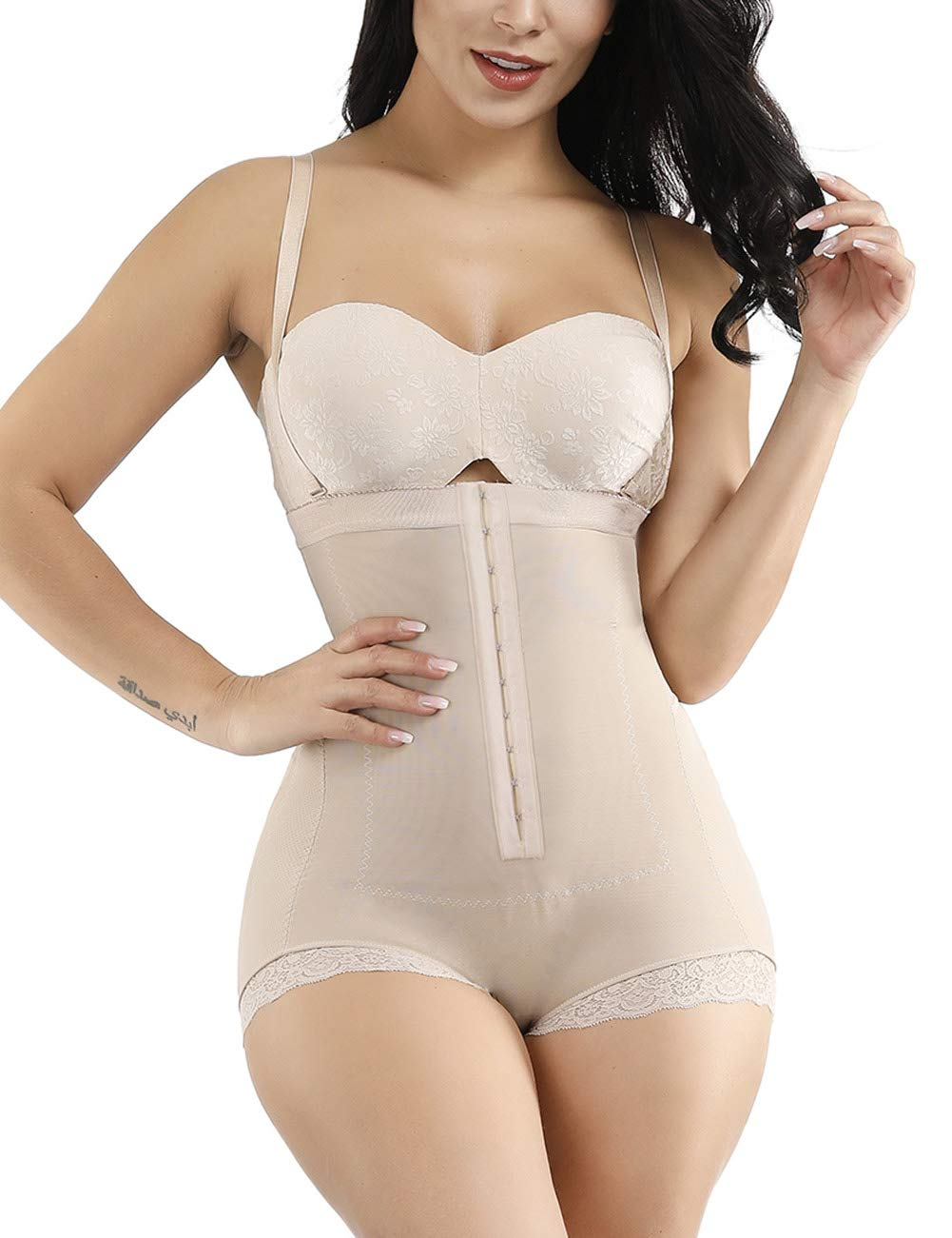 FEDNON Women's Open Bust Tummy Control Shapewear Bodysuits High Waist Body Shaper